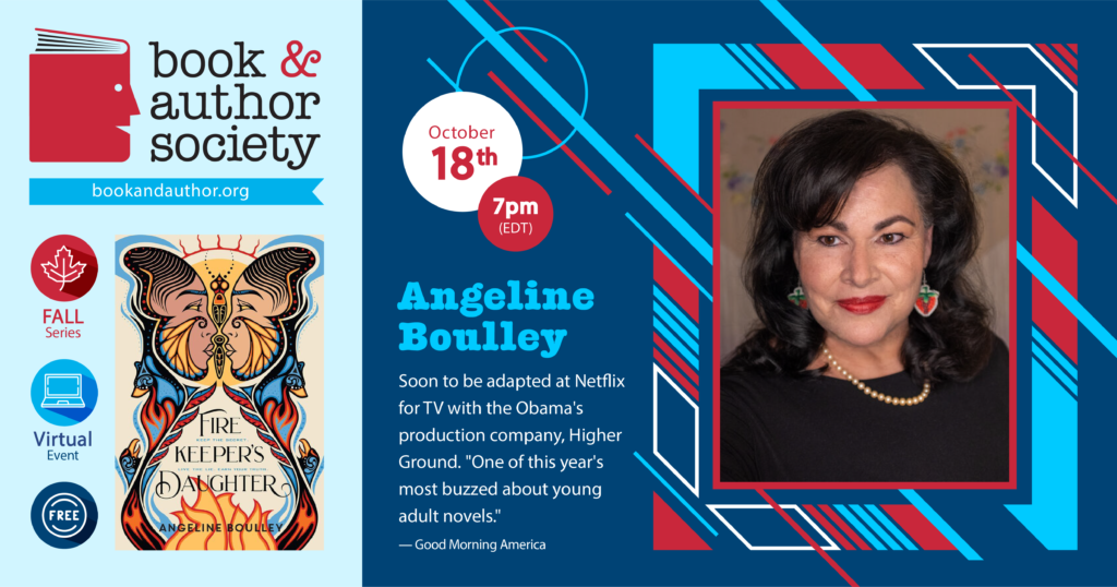 Event information for Angeline Boulley with link to Zoom registration page